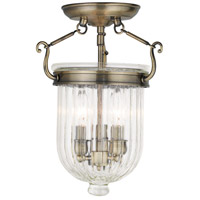 Livex 50514-01 Coventry 3 Light 10 inch Antique Brass Flush Mount Ceiling Light