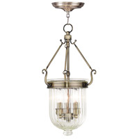 Livex 50515-01 Coventry 3 Light 10 inch Antique Brass Pendant Ceiling Light