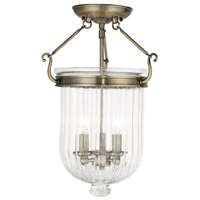 Livex 50516-01 Coventry 3 Light 12 inch Antique Brass Flush Mount Ceiling Light