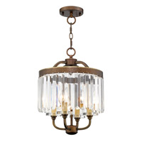 Livex 50543-64 Ashton 4 Light 13 inch Hand Painted Palacial Bronze Convertible Mini Chandelier Ceiling Light
