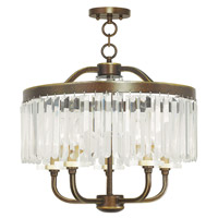 Livex 50545-64 Ashton 5 Light 20 inch Hand Painted Palacial Bronze Convertible Chain Hang Ceiling Light