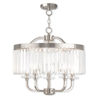 Livex Lighting Ashton 5 Light Convertible Mini Chandelier/Semi Flush Mount in Brushed Nickel 50545-91