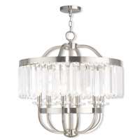 Livex 50546-91 Ashton 6 Light 24 inch Brushed Nickel Chandelier Ceiling Light