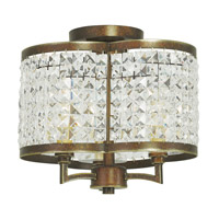 Livex 50573-64 Grammercy 3 Light 12 inch Hand Painted Palacial Bronze Flush Mount Ceiling Light