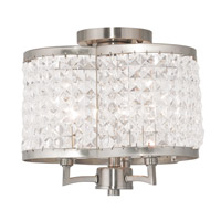 Livex 50573-91 Grammercy 3 Light 12 inch Brushed Nickel Flush Mount Ceiling Light