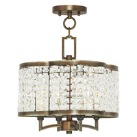 Livex 50574-64 Grammercy 4 Light 14 inch Hand Painted Palacial Bronze Convertible Mini Chandelier Ceiling Light