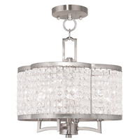 Livex 50574-91 Grammercy 4 Light 14 inch Brushed Nickel Convertible Mini Chandelier Ceiling Light