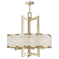 Livex 50576-28 Grammercy 6 Light 26 inch Hand Applied Winter Gold Chandelier Ceiling Light