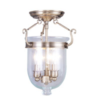 Livex 5061-01 Jefferson 3 Light 10 inch Antique Brass Ceiling Mount Ceiling Light in Clear