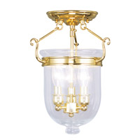 Livex 5061-02 Jefferson 3 Light 10 inch Polished Brass Ceiling Mount Ceiling Light in Clear photo thumbnail