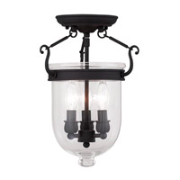 Livex 5061-04 Jefferson 3 Light 10 inch Black Ceiling Mount Ceiling Light in Clear