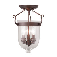 Jefferson 3 Light 10 inch Imperial Bronze Ceiling Mount Ceiling Light in Clear