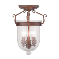 Jefferson 3 Light 10 inch Vintage Bronze Ceiling Mount Ceiling Light in Clear