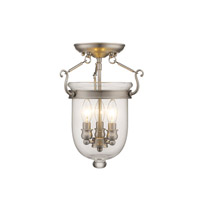 Jefferson 3 Light 10 inch Brushed Nickel Ceiling Mount Ceiling Light in Clear