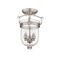 Livex 5061-91 Jefferson 3 Light 10 inch Brushed Nickel Ceiling Mount Ceiling Light in Clear alternative photo thumbnail