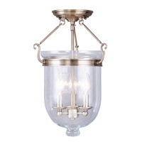 Jefferson 3 Light 12 inch Antique Brass Ceiling Mount Ceiling Light in Clear