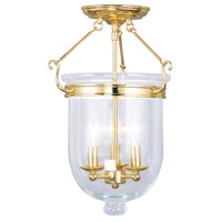 Livex 5062-02 Jefferson 3 Light 12 inch Polished Brass Ceiling Mount Ceiling Light in Clear