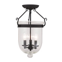 Livex 5062-04 Jefferson 3 Light 12 inch Black Ceiling Mount Ceiling Light in Clear