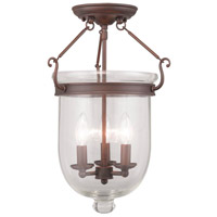 Livex 5062-58 Jefferson 3 Light 12 inch Imperial Bronze Ceiling Mount Ceiling Light in Clear
