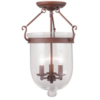 Jefferson 3 Light 12 inch Vintage Bronze Ceiling Mount Ceiling Light in Clear