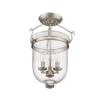 Livex 5062-91 Jefferson 3 Light 12 inch Brushed Nickel Ceiling Mount Ceiling Light in Clear alternative photo thumbnail