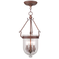 Jefferson 3 Light 10 inch Vintage Bronze Pendant Ceiling Light in Clear