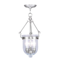 Livex 5063-91 Jefferson 3 Light 10 inch Brushed Nickel Pendant Ceiling Light in Clear