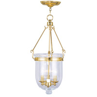 Livex Lighting Jefferson 3 Light Pendant in Polished Brass 5064-02