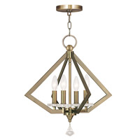 Livex Diamond 4 Light Chandelier in Antique Brass 50664-01