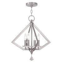 Livex 50664-91 Diamond 4 Light 18 inch Brushed Nickel Chandelier Ceiling Light