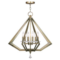 Livex Diamond 6 Light Chandelier in Antique Brass 50666-01