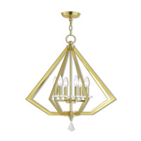 Livex 50666-02 Diamond 6 Light 25 inch Polished Brass Chandelier Ceiling Light