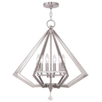 Livex Diamond 6 Light Chandelier in Brushed Nickel 50666-91