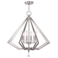 Livex 50666-91 Diamond 6 Light 25 inch Brushed Nickel Chandelier Ceiling Light