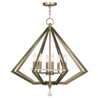 Diamond 8 Light 28 inch Antique Brass Chandelier Ceiling Light