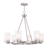 Manhattan 6 Light 26 inch Brushed Nickel Chandelier Ceiling Light