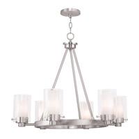 Livex 50676-91 Manhattan 6 Light 26 inch Brushed Nickel Chandelier Ceiling Light