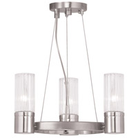 Livex 50693-91 Midtown 3 Light 15 inch Brushed Nickel Mini Chandelier Ceiling Light
