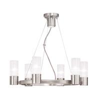 Livex 50696-91 Midtown 6 Light 23 inch Brushed Nickel Chandelier Ceiling Light