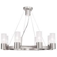 Livex 50698-91 Midtown 8 Light 26 inch Brushed Nickel Chandelier Ceiling Light