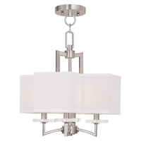 Livex Woodland Park 4 Light Convertible Mini Chandelier in Brushed Nickel 50704-91