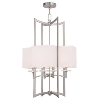 Livex Woodland Park 4 Light Foyer Chandelier in Brushed Nickel 50707-91