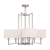 Livex Woodland Park 8 Light Chandelier in Brushed Nickel 50708-91