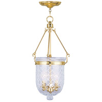 Livex 5074-02 Jefferson 3 Light 12 inch Polished Brass Pendant Ceiling Light