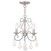 Livex 50763-91 Donatella 3 Light 12 inch Brushed Nickel Convertible Mini Chandelier Ceiling Light
