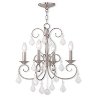 Livex Lighting Donatella 4 Light Mini Chandelier in Brushed Nickel 50764-91