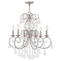 Livex 50766-91 Donatella 6 Light 25 inch Brushed Nickel Chandelier Ceiling Light
