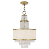 Livex 50784-28 Prescott 3 Light 14 inch Hand Applied Winter Gold Mini Chandelier Ceiling Light