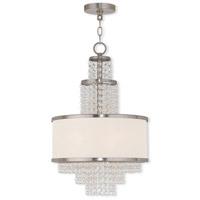 Livex 50784-91 Prescott 3 Light 14 inch Brushed Nickel Mini Chandelier Ceiling Light
