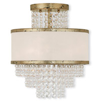 Livex 50793-28 Prescott 3 Light 12 inch Hand Applied Winter Gold Flush Mount Ceiling Light